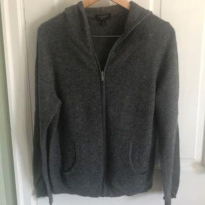 Cashmere zip up hoodie in dark gray